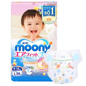 Tã dán Moony size L 54 miếng (cho bé 9 - 14kg)