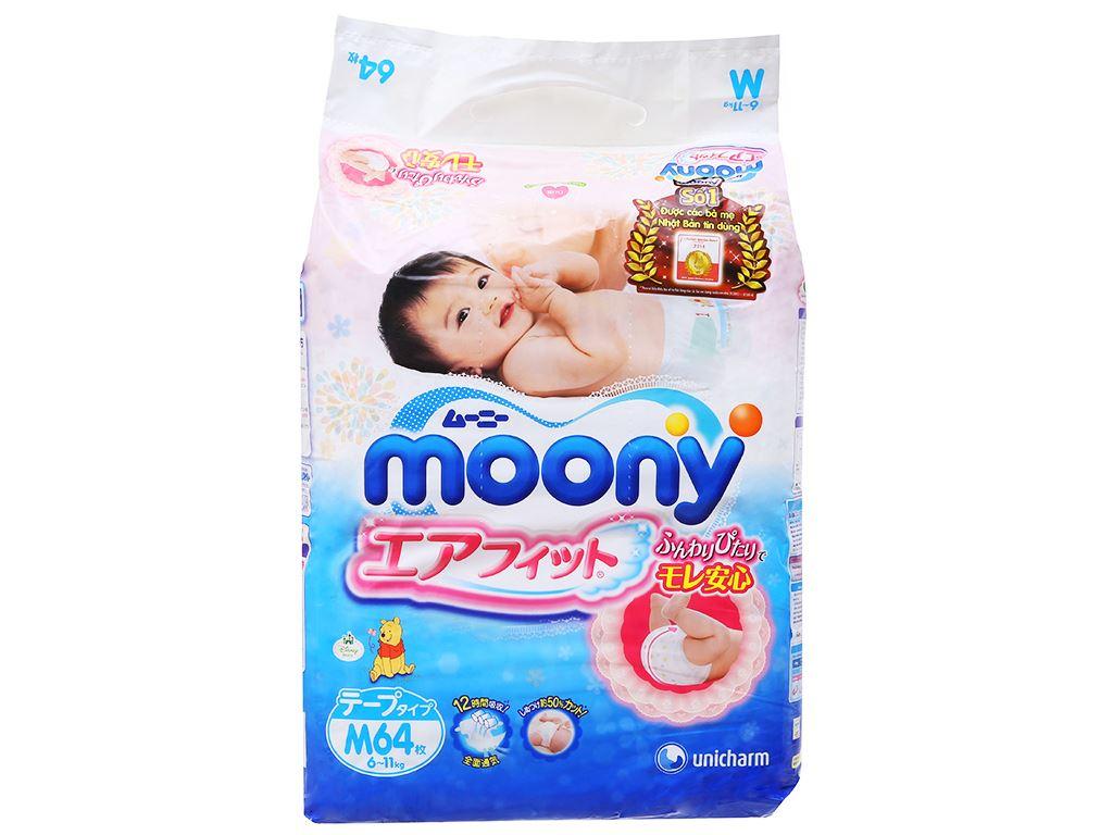 Tã dán Moony size M 64 miếng (cho bé 6 - 11kg) 1