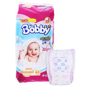 Miếng lót sơ sinh Bobby size NB2 40 miếng (cho bé trên 1 tháng)