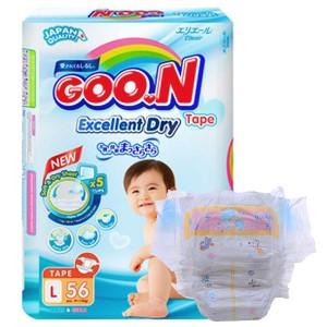 Tã dán Goo.n Excellent Dry size L 56 miếng (cho bé 9 - 14kg)