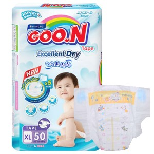Tã dán Goo.n Excellent Dry size XL 50 miếng (cho bé 12 - 20kg)