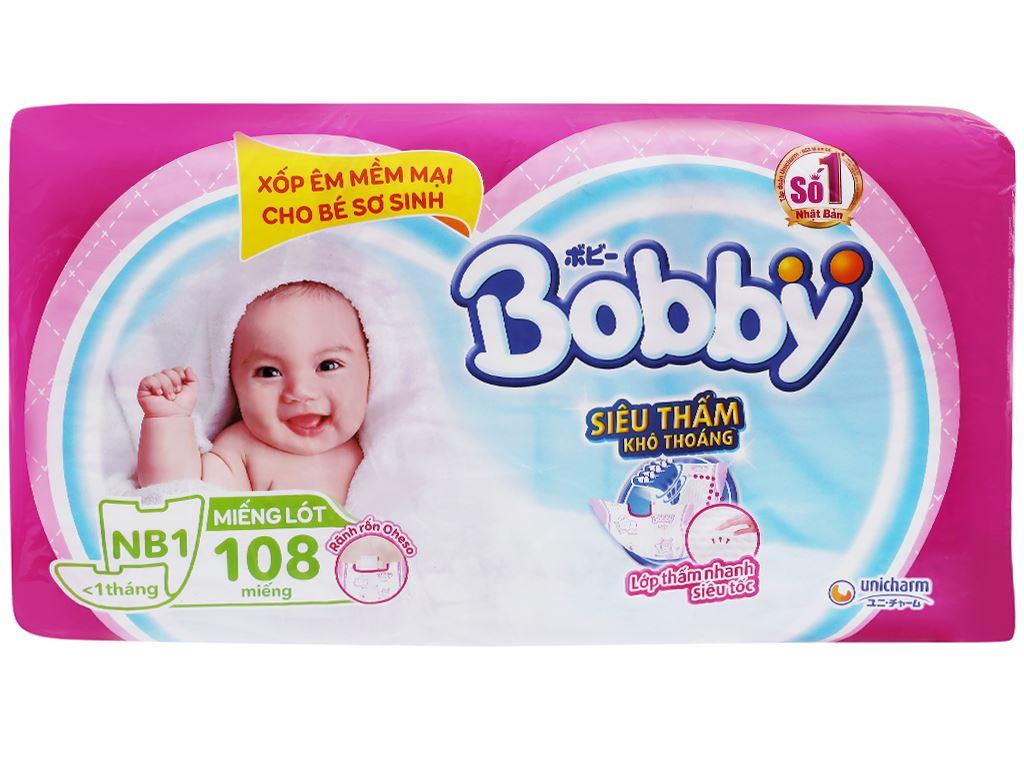Miếng lót sơ sinh Bobby Newborn 108 miếng (cho bé dưới 1 tháng) 1