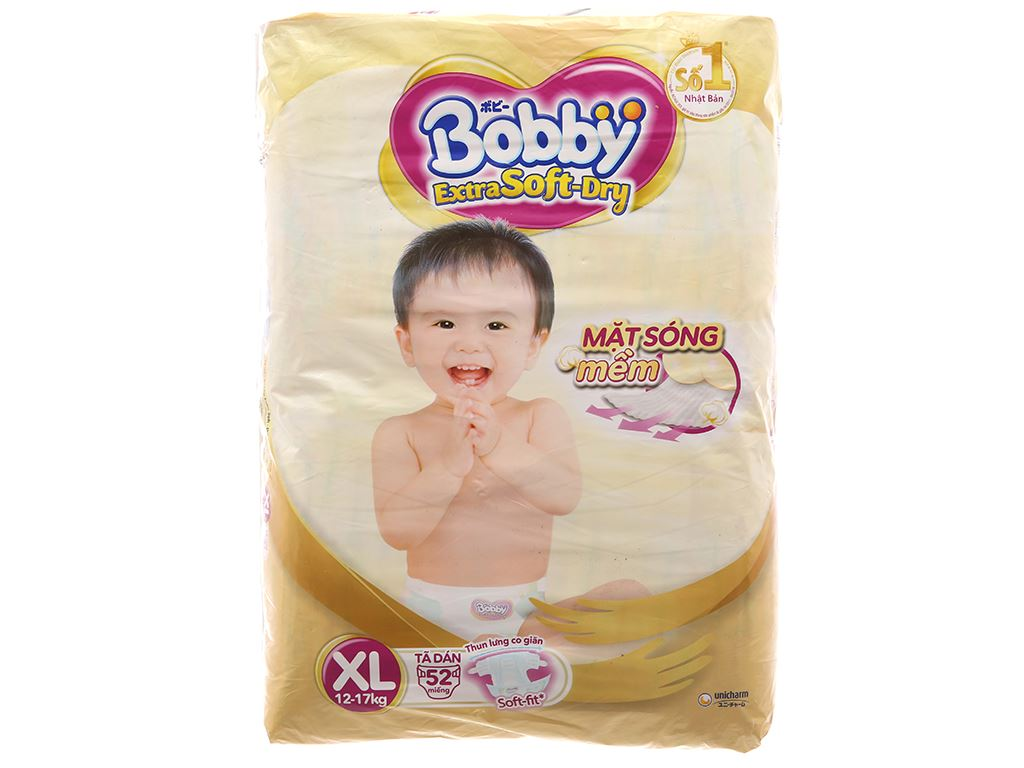 Tã dán Bobby Extra Soft Dry Size XL 52 miếng (cho bé 12 - 17kg) 1