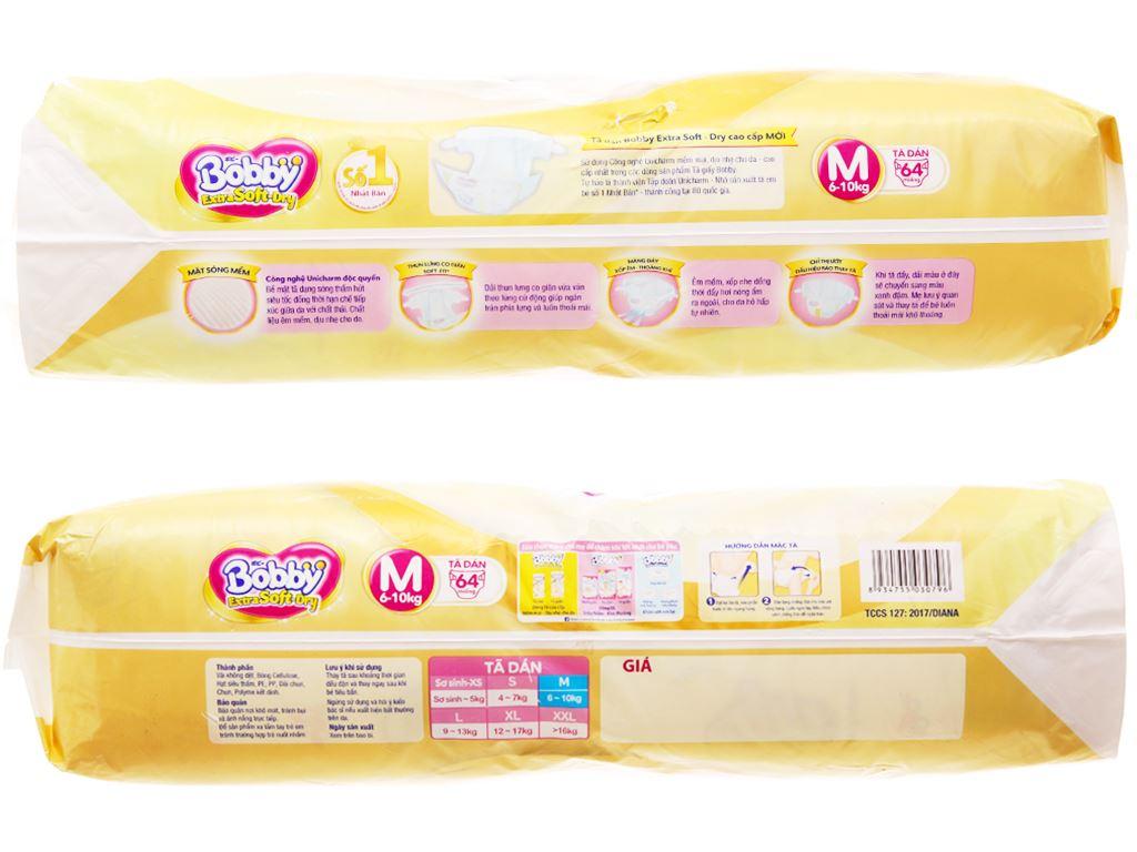 Tã dán Bobby Extra Soft Dry size M 64 miếng (cho bé 6 - 10kg) 3