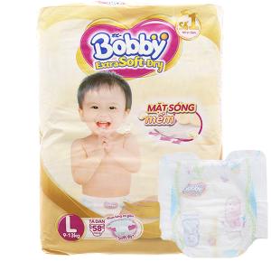 Tã dán Bobby Extra Soft Dry size L 58 miếng (cho bé 9 - 13kg)