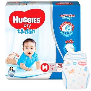 Tã dán Huggies Dry size M 76 miếng (cho bé 6 - 11kg)