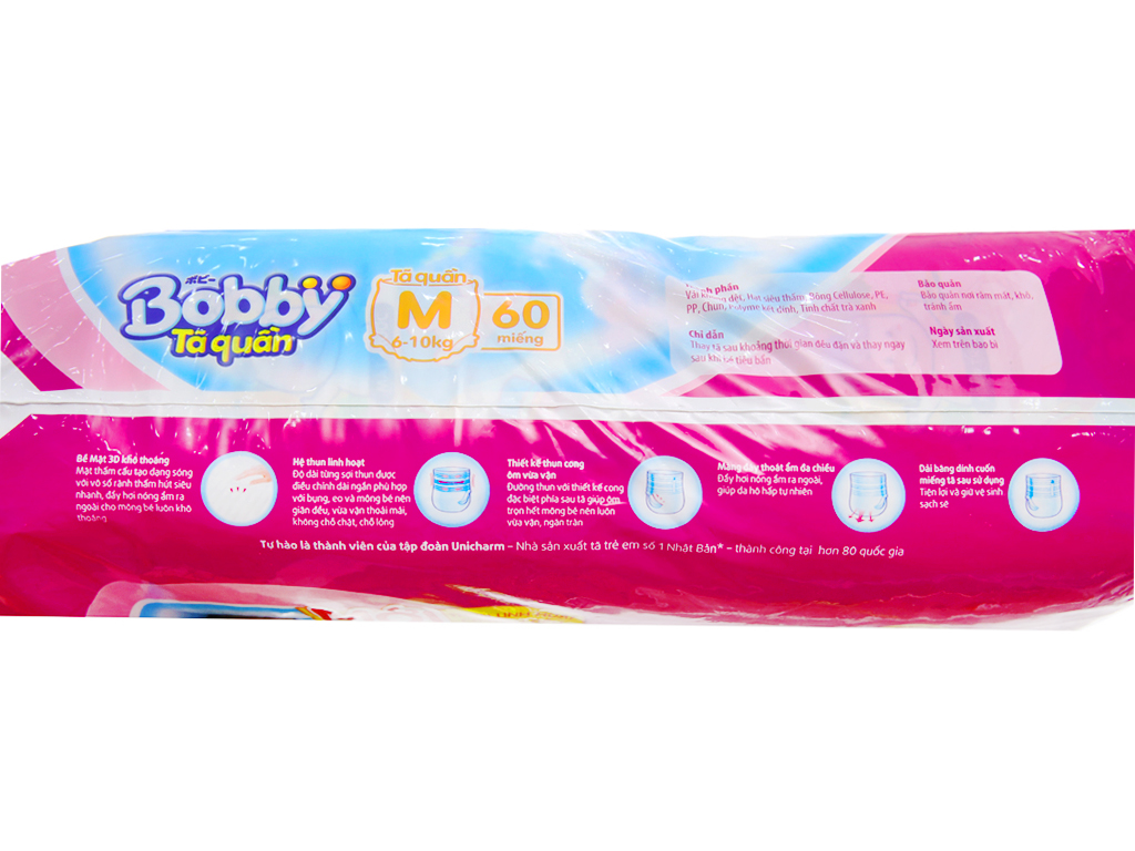 Tã quần Bobby size M 60 miếng (cho bé 6 - 10kg) 3