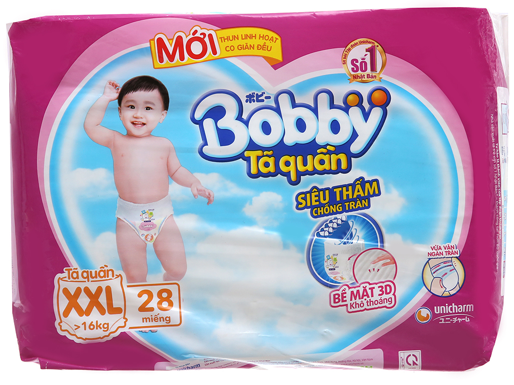 Tã quần Bobby size XXL 28 miếng (cho bé trên 16kg) 2