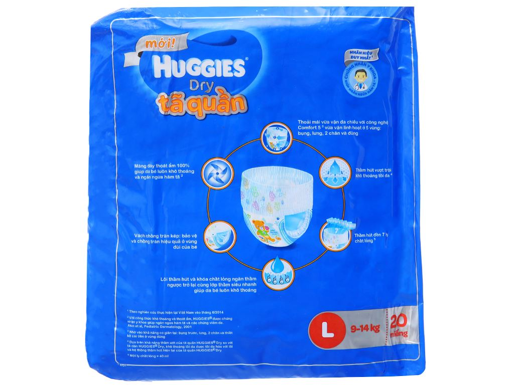 Tã quần Huggies Dry size L 20 miếng (cho bé 9 - 14kg) 2