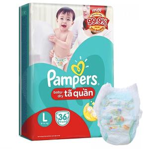 Tã quần Pampers Baby Dry size L 36 miếng (cho bé 9 - 14kg)