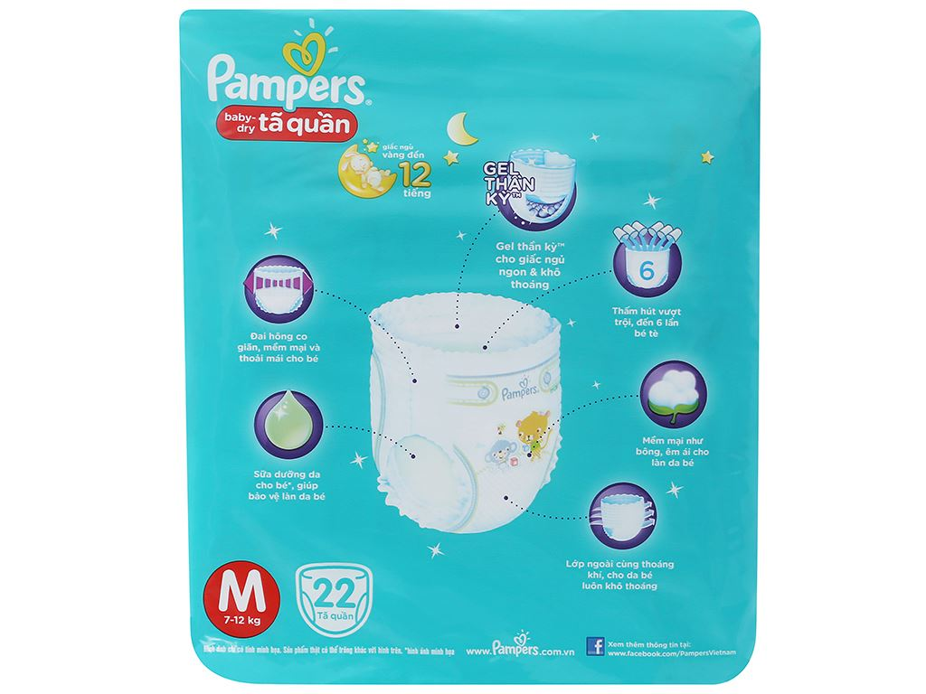 Tã quần Pampers Baby Dry size M 22 miếng (cho bé 7 - 12kg) 3