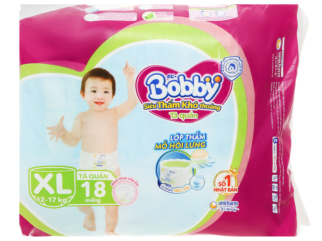 Tã quần Bobby size XL 18 miếng (cho bé 12 - 17kg) 2