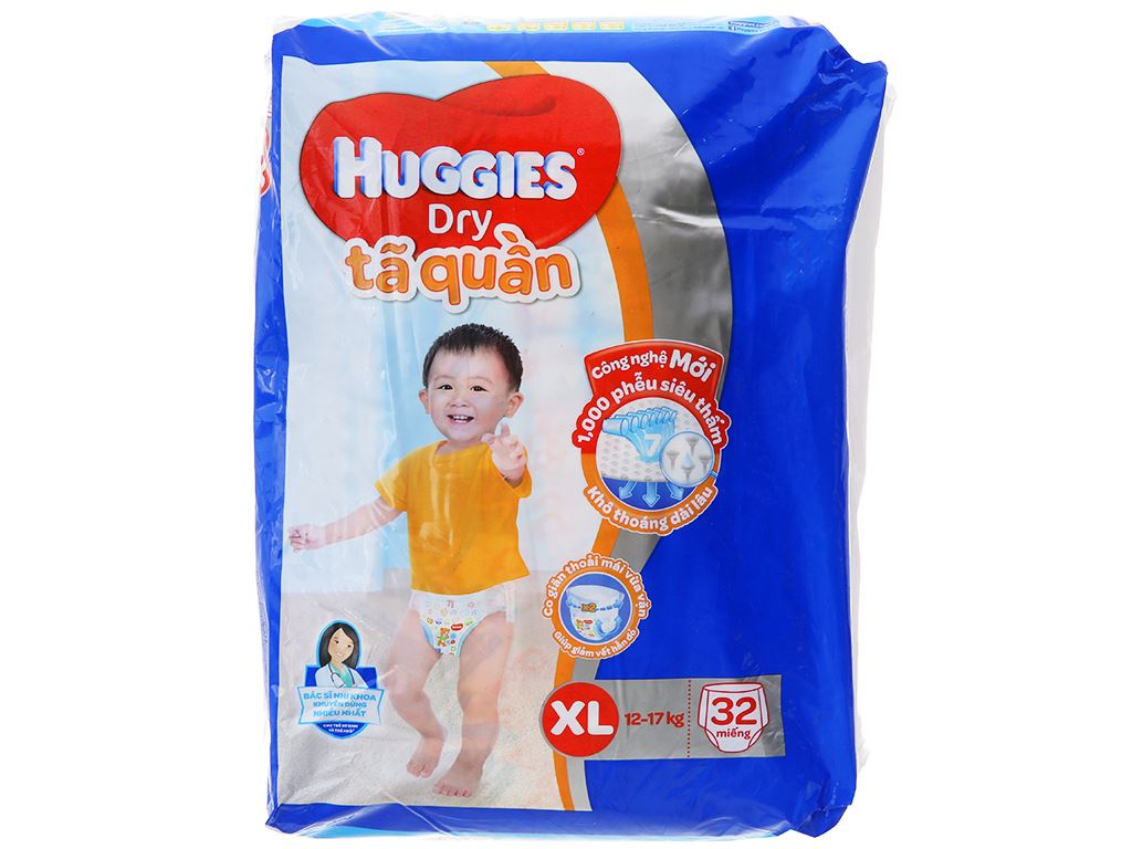 Tã quần Huggies Dry size XL 32 miếng (cho bé 12 - 17kg) 1