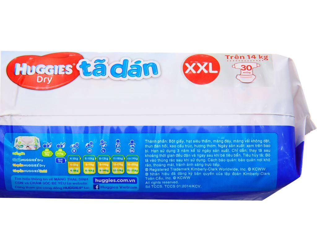 Tã dán Huggies Dry size XXL 30 miếng (cho bé trên 14kg) 3