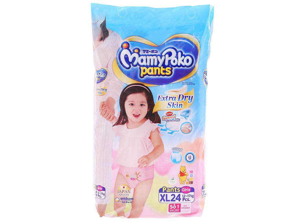 Tã quần Mamypoko Extra Dry Skin bé gái size XL 24 miếng (cho bé 12 - 17kg) 1