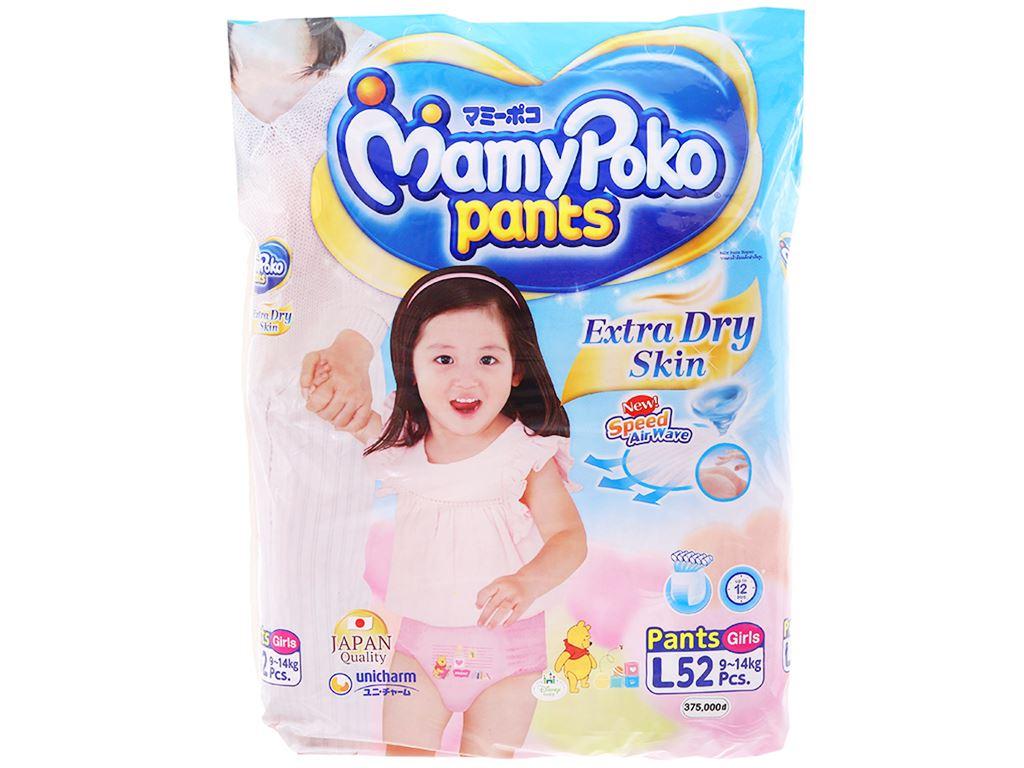 Tã quần Mamypoko Extra Dry Skin bé gái size L 52 miếng (cho bé 9 - 14kg) 1