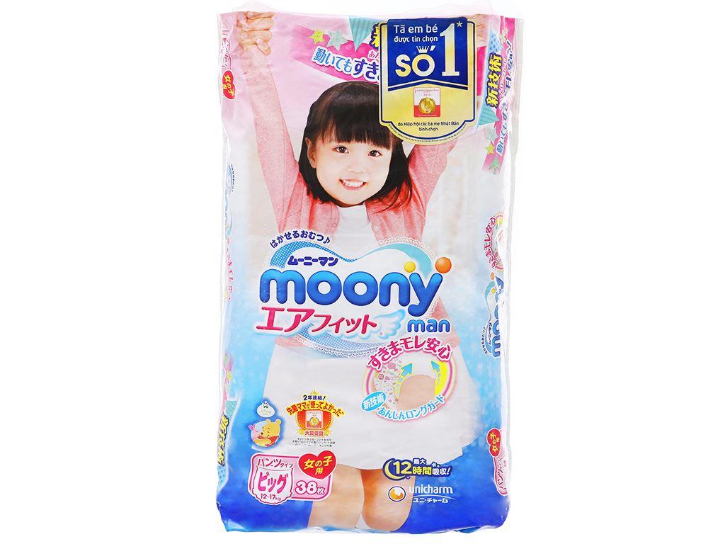 Tã quần Moony Man bé gái size XL 38 miếng (cho bé 12 - 17kg) 1