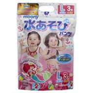 Tã quần đi bơi Moony cho bé gái size L 3 miếng (bé 9-14kg)