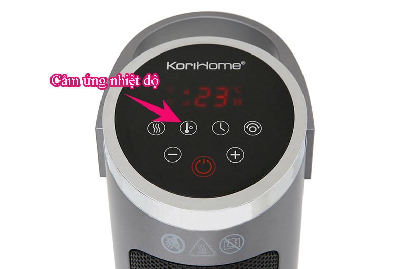 Cảm ứng nhiệt độ phòng - Quạt sưởi gốm Korihome EHK-102-S 2000 W