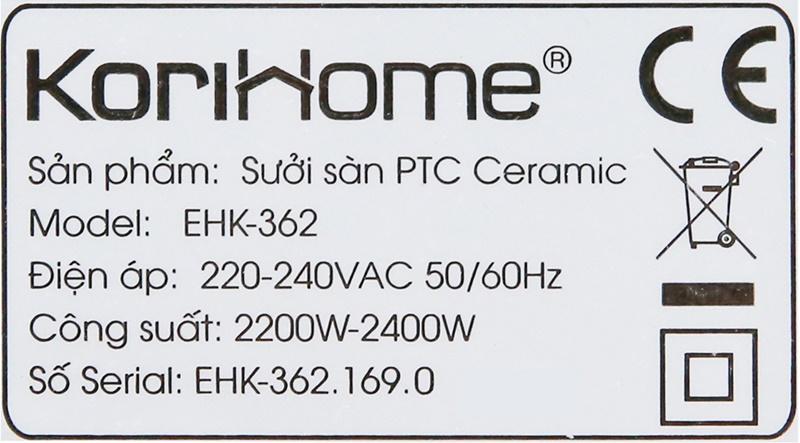 Có công suất 2200 - 2400 W - Quạt sưởi gốm Korihome EHK-362 2000 W