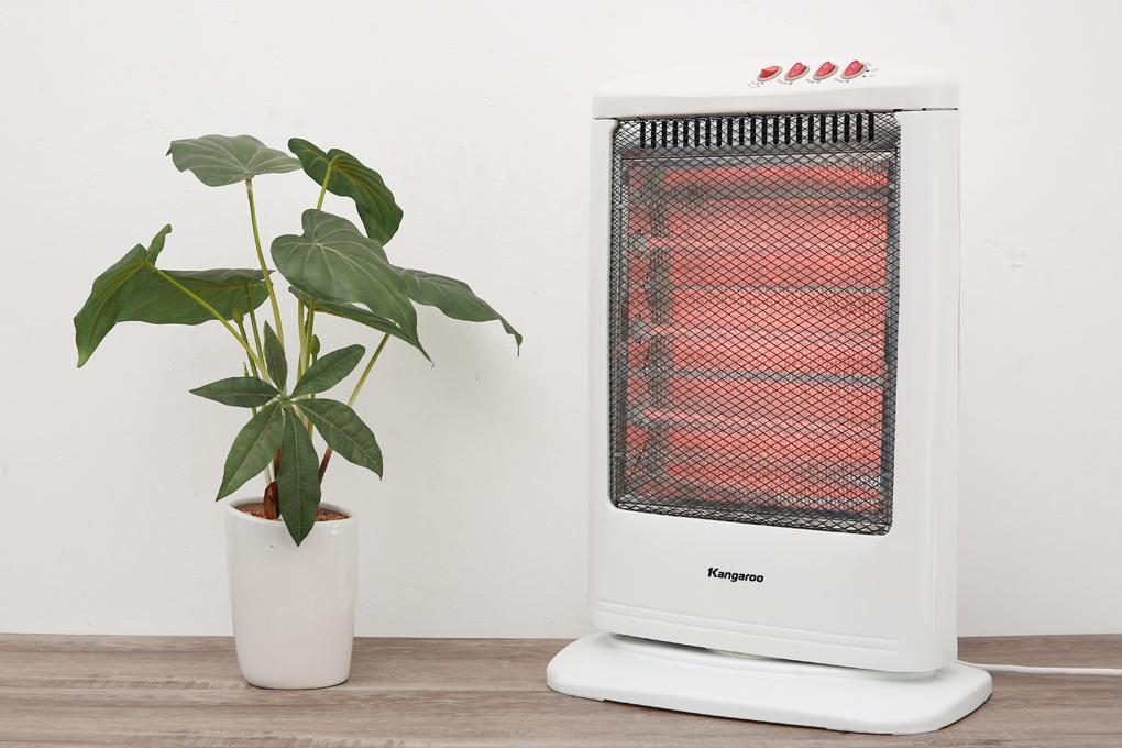 Dùng đèn Halogen cho hiệu quả làm ấm cao - Quạt sưởi halogen Kangaroo KG1012C-KG 1200 W