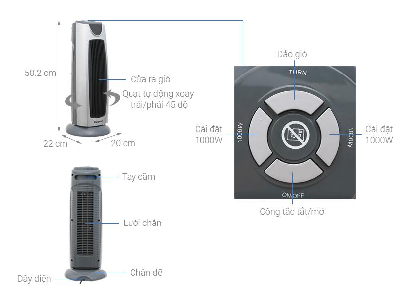 Thông số kỹ thuật Quạt sưởi gốm Kangaroo KG1036C-KG 2000W