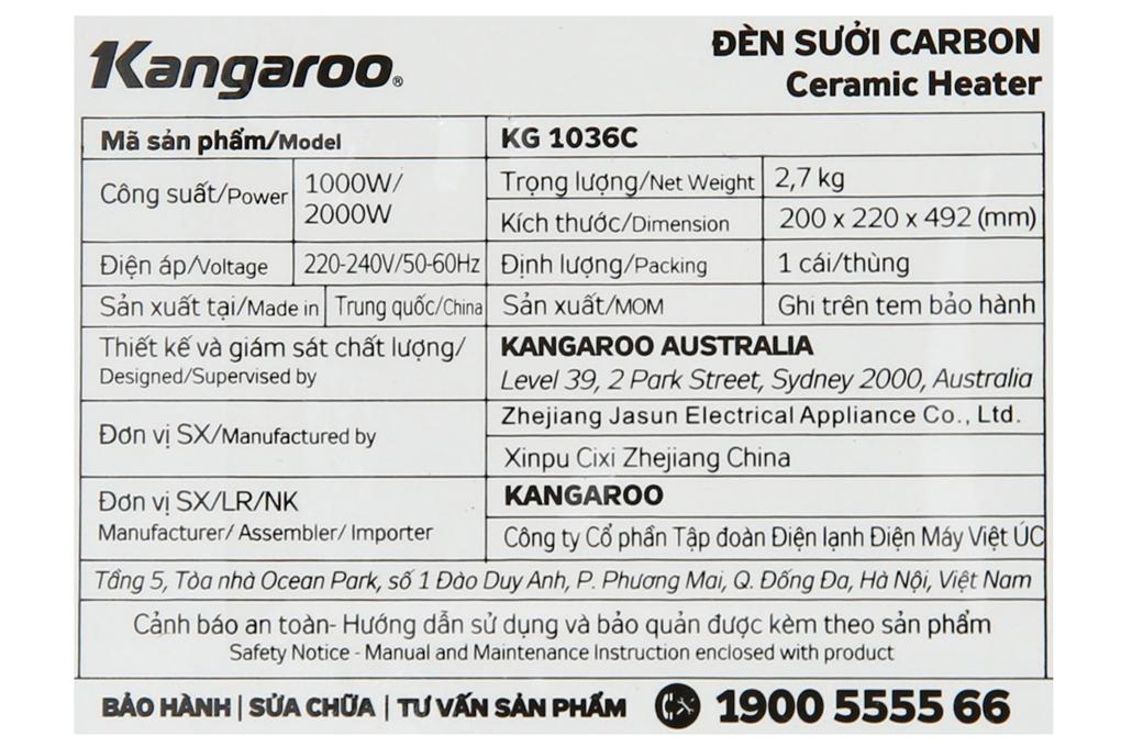 Công suất 2000 W - Quạt sưởi gốm Kangaroo KG1036C - KG 2000 W