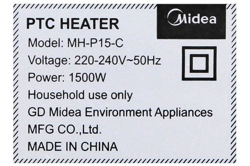 Hoạt động với công suất 1500 W - Quạt sưởi nhiệt Midea MH-P15-C