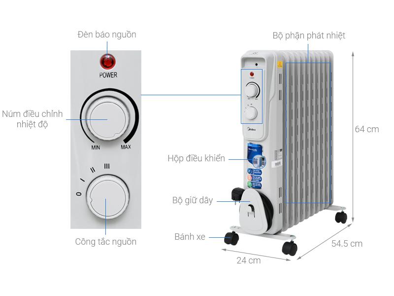 Thông số kỹ thuật Quạt sưởi dầu Midea MH-O23-11A