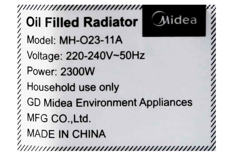 Trang bị 10 thanh nhiệt, công suất 2300 W - Quạt sưởi dầu Midea MH-023-11A