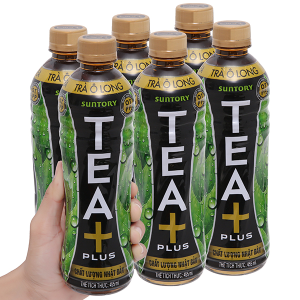 6 chai trà ô long Tea Plus 455ml