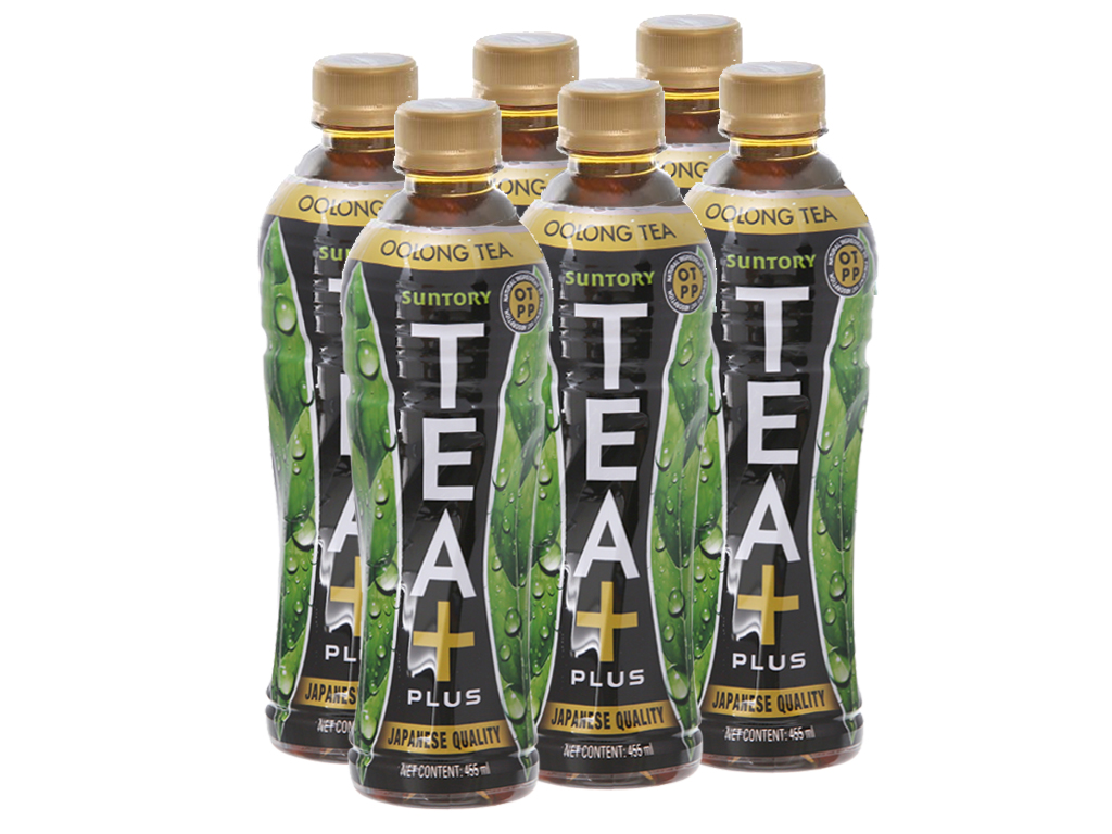 6 chai trà ô long Tea Plus 455ml 1