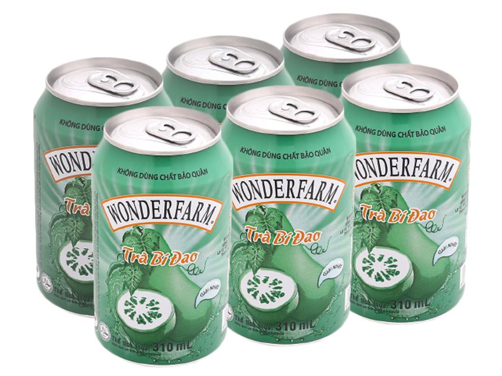 6 lon trà bí đao Wonderfarm 310ml 1