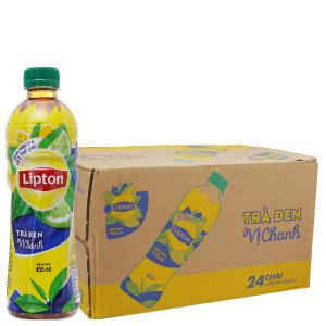 Thùng 24 chai trà đen Lipton vị chanh 455ml