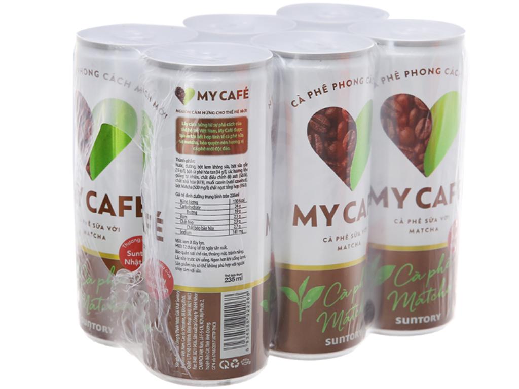 6 lon cà phê sữa My Café matcha 235ml 1