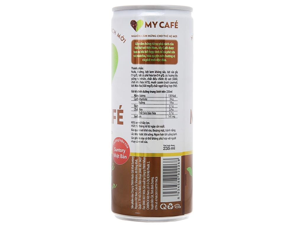 6 lon cà phê sữa My Café matcha 235ml 3