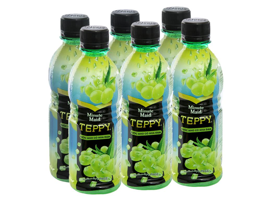 6 chai nước nho & nha đam Teppy 327ml 1