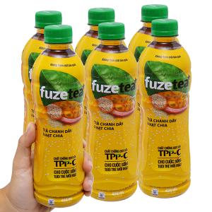 6 chai trà chanh dây và hạt chia Fuze Tea+ 450ml