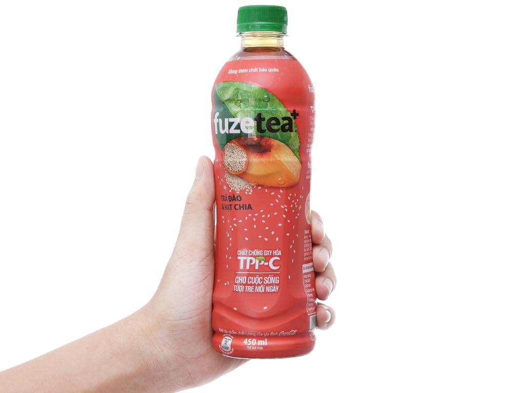 6 chai trà đào và hạt chia Fuze Tea+ 450ml 4