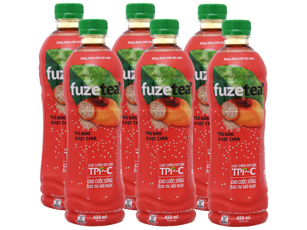6 chai trà đào và hạt chia Fuze Tea+ 450ml 1