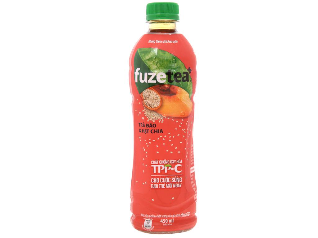 6 chai trà đào và hạt chia Fuze Tea+ 450ml 7