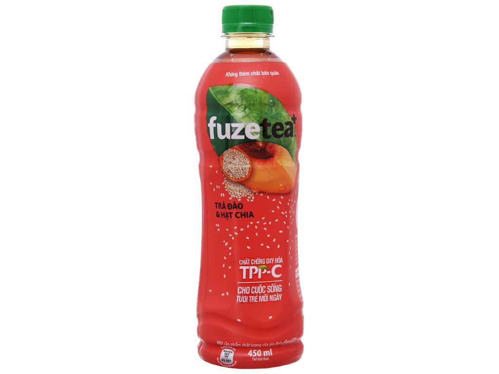 6 chai trà đào và hạt chia Fuze Tea+ 450ml 2