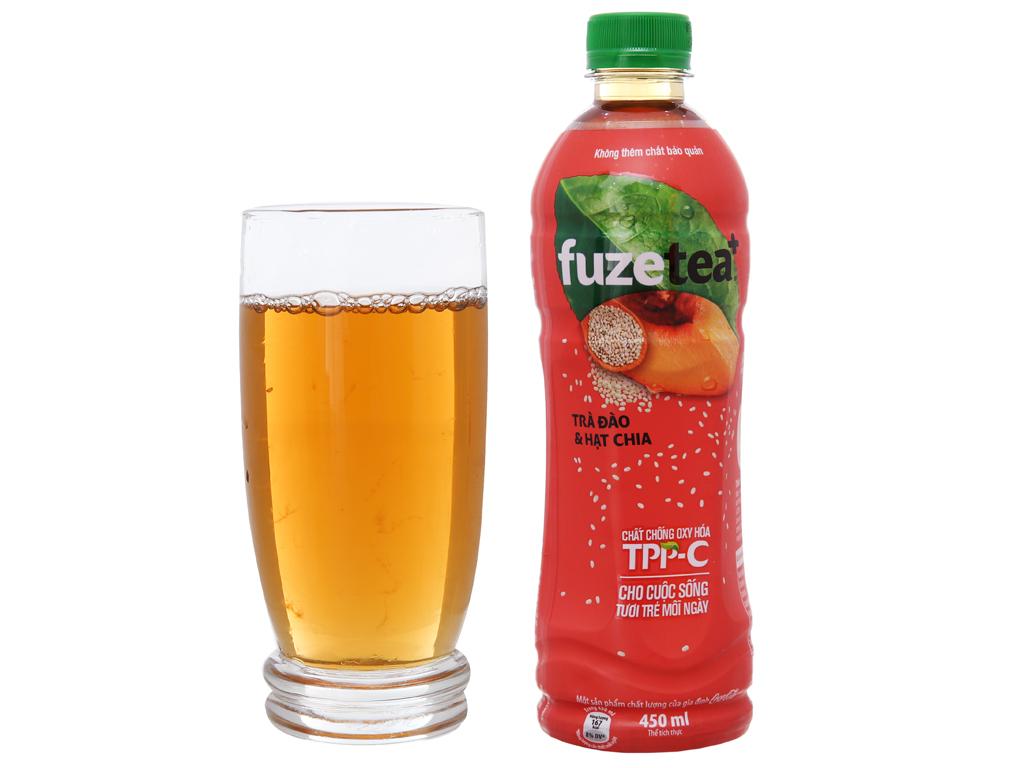6 chai trà đào và hạt chia Fuze Tea+ 450ml 5
