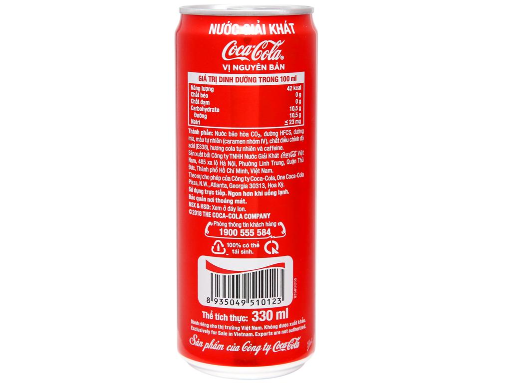 6 lon nước ngọt Coca Cola 330ml 3