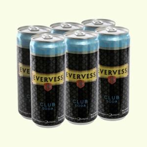 6 lon Evervess Club Soda 330ml