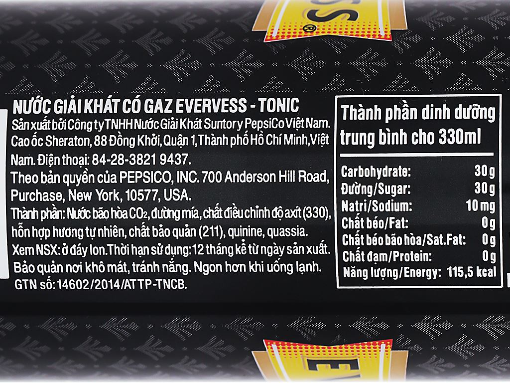 Thùng 24 lon Tonic Evervess 330ml 4