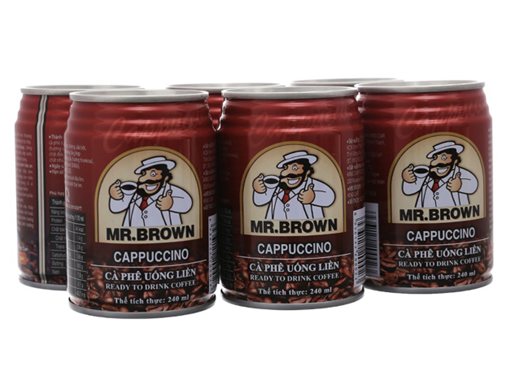 6 lon cappuccino Mr.Brown 240ml 1