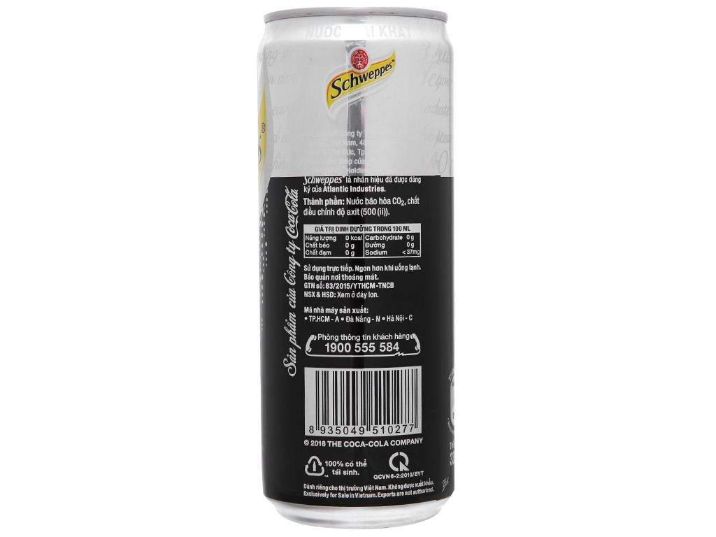 Lốc 6 lon soda Schweppes 330ml 4