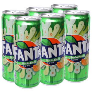 6 lon nước ngọt Fanta vị soda kem 330ml