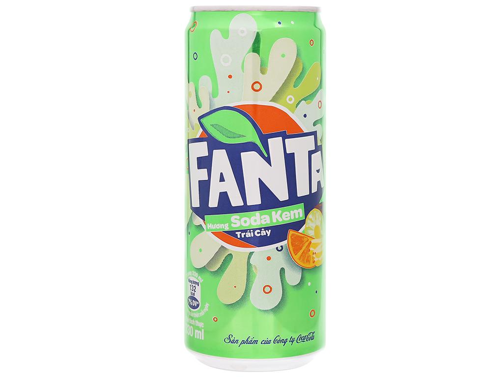 6 lon nước ngọt Fanta vị soda kem 330ml 2